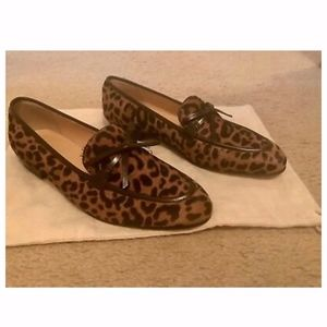 J.CREW ACADEMY LOAFERS IN LEOPARD CALF HAIR